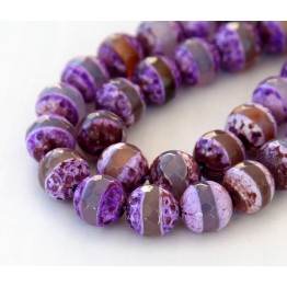 Fire Crackle Agate Beads, Purple Stripe, 10mm Faceted Round