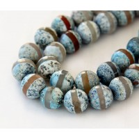 Fire Crackle Agate Beads, Light Teal Stripe, 10mm Faceted Round