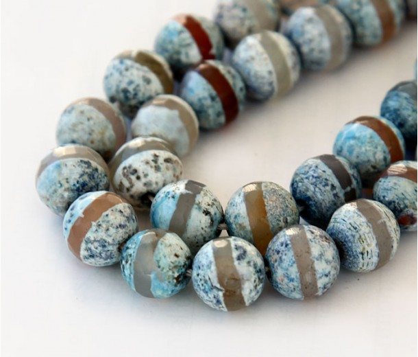 Fire Crackle Agate Beads, Light Teal Stripe, 8mm Faceted Round