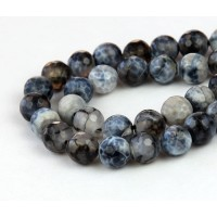 Fire Crackle Agate Beads, Black and White, 8mm Faceted Round