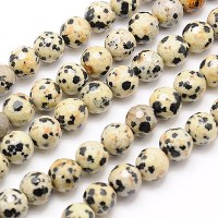 Dalmatian Jasper Beads, 10mm Faceted Round