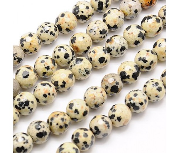 Dalmatian Jasper Beads, 8mm Faceted Round