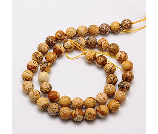 Picture Jasper Beads, 10mm Faceted Round