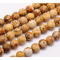 Picture Jasper Beads, 8mm Faceted Round