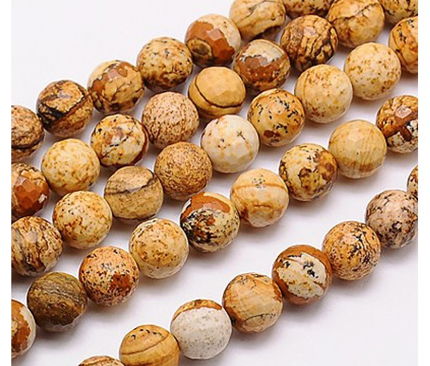 Picture Jasper Beads, Natural, 10mm Faceted Round