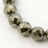 Pyrite Beads, 8mm Faceted Round