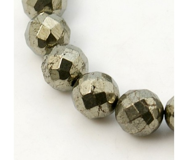 Pyrite Beads, 10mm Faceted Round