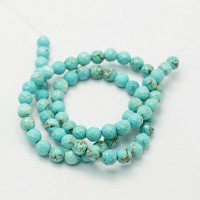 Turquoise Beads, Light Blue, 8mm Faceted Round
