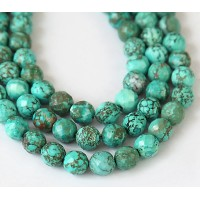 Turquoise Beads, Bluegreen, 8mm Faceted Round