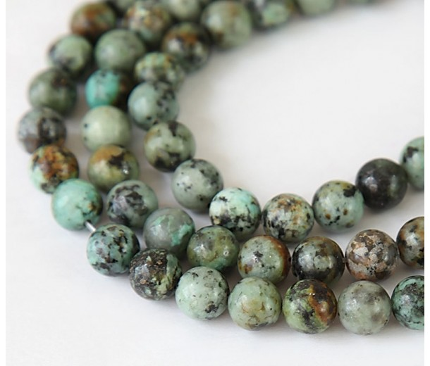 African Turquoise Beads, Natural, 6mm Round