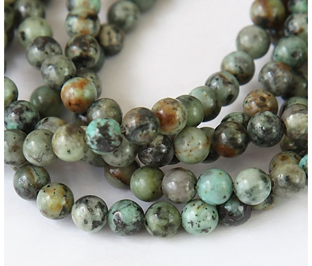 African Turquoise Beads, 8mm Round
