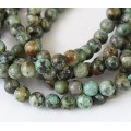 African Turquoise Beads, Natural, 8mm Round