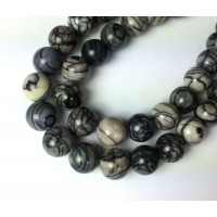 Black Veined Jasper Beads, 8mm Round