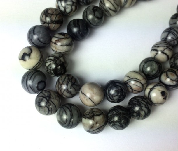 Black Veined Jasper Beads, Natural, 8mm Round