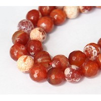 Fire Crackle Agate Beads, Caramel, 10mm Faceted Round
