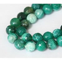 Fire Crackle Agate Beads, Grass Green, 10mm Faceted Round