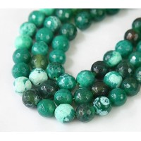 Fire Crackle Agate Beads, Grass Green, 8mm Faceted Round