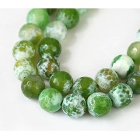 Fire Crackle Agate Beads, Apple Green, 10mm Faceted Round