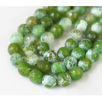 Fire Crackle Agate Beads, Apple Green, 8mm Faceted Round