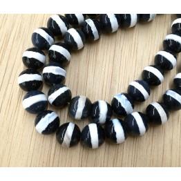 Dzi Agate Beads, Black with White Stripe, 10mm Round