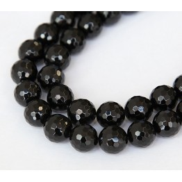 Agate Beads, Black, 10mm Faceted Round