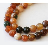 Striped Agate Beads, Tea Brown, 8mm Round