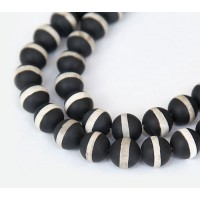 Matte Dzi Agate Beads, Black with Beige Stripe, 8mm Round