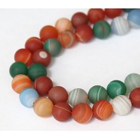 Matte Agate Beads, Multicolor, 6mm Round