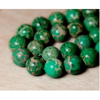 Impression Jasper Beads, Green, 12mm Round