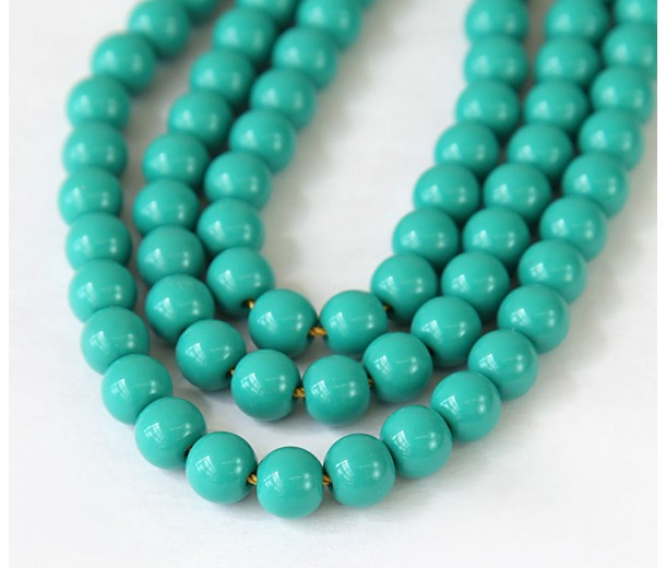 Imitation Turquoise Beads, Dark Teal, 8mm Round