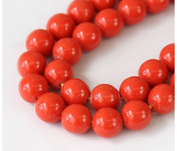 Imitation Turquoise Beads, Orange, 10mm Round