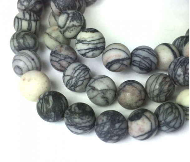 Matte Black Veined Jasper Beads, 10mm Round