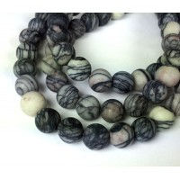 Matte Black Veined Jasper Beads, 8mm Round