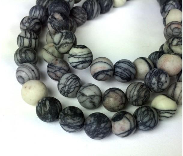 Matte Black Veined Jasper Beads, 8mm Round