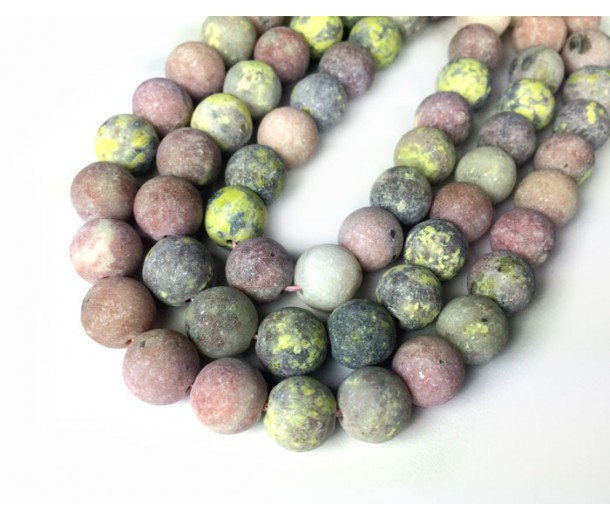 Matte Pink Lepidolite Beads, Natural, 10mm Round