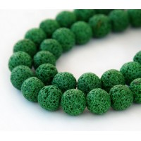 Lava Rock Beads, Grass Green, 10mm Round