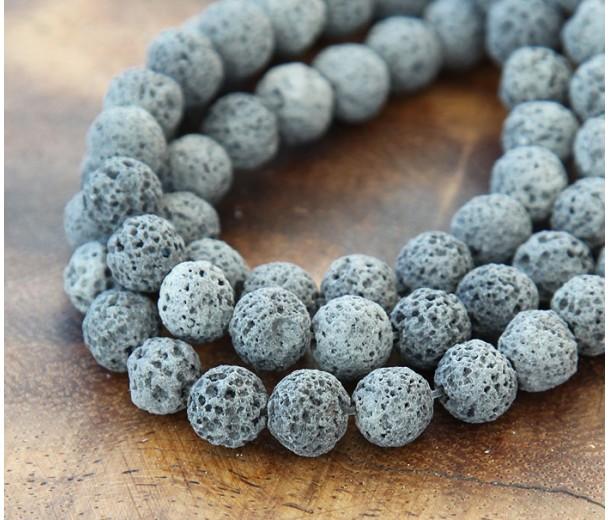 Lava Rock Beads, Grey, 8mm Round