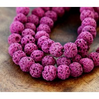 Lava Rock Beads, Magenta, 10mm Round