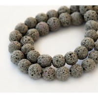 Lava Rock Beads, Taupe, 10mm Round