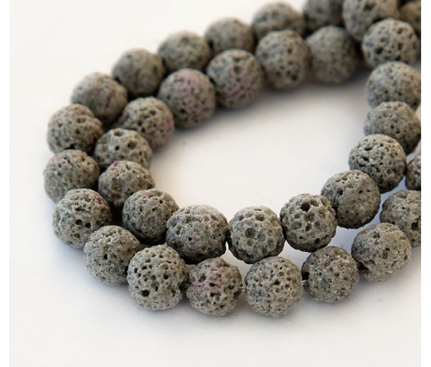 Lava Rock Beads, Taupe, 8mm Round