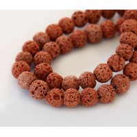 Lava Rock Beads, Terracotta Orange, 8mm Round