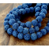 Lava Rock Beads, Dark Blue, 8mm Round