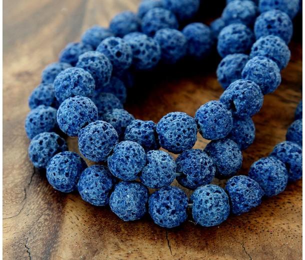 Lava Rock Beads, Dark Blue, 8mm Round