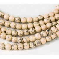 Magnesite Beads, Light Oatmeal, 4mm Round