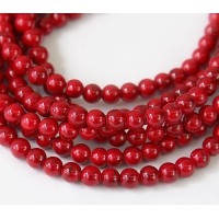 Magnesite Beads, Bright Red, 4mm Round