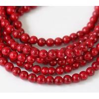 Magnesite Beads, Bright Red, 4mm Round