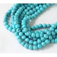 -Magnesite Beads, Sky Blue, 6mm Round