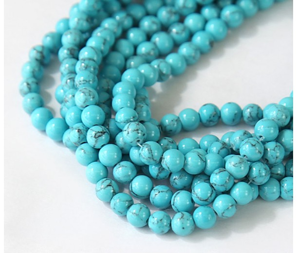 Magnesite Beads, Sky Blue, 6mm Round