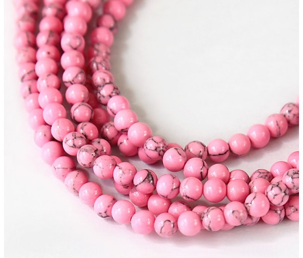Magnesite Beads, Neon Pink, 4mm Round