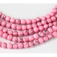 Magnesite Beads, Neon Pink, 6mm Round